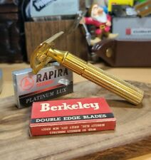 1946-50 Gillette Gold Tech vintage Safety Razor 5 Rapira blades VTG 5 Berkeley