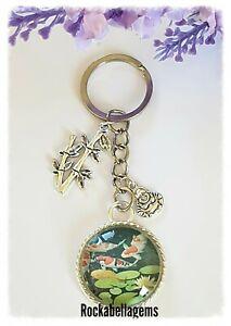 Personalised  Koi carp key ring, charm Japanese, Buddha, bamboo, Zen