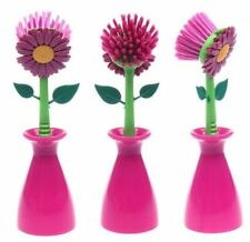 Multi Purpose Sunflower Kitchen Cleaning Brush (Rose Color) With Base -1 brush