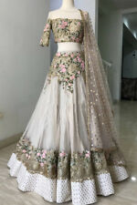 INDIAN DESIGNER OFF WHITE WEDDING NET LEHENGA FLORAL LENGHA PARTY LEHENGA CHOLI