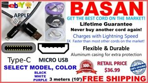 3x BASAN CORD MICRO USB FAST CHARGING CABLE SYNC ANDROID CELL PHONE 10FT (3m)Ea.