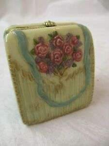 Porcelain hinged Purse shaped Trinket Box mint green cream pink embossed Roses
