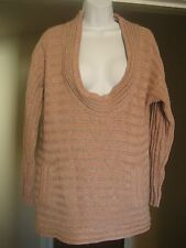 TRACY REESE Pink and Silver Pullover Chunky Knit Sweater Sz S