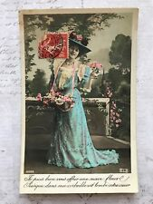 Beautiful Lady Flowers Big Hat  French Fashion Original Vintage Postcard