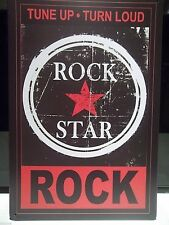 "ROCK STAR, TUNE UP/TURN LOUD RETRO METAL SIGN 12""X 8"",30X20cm, FREE UK SHIPPING"
