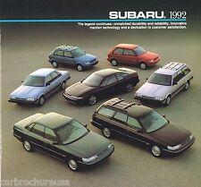 1992 Subaru Brochure: SVX,LEGACY,LOYALE,JUSTY,GL,Station Wagon,L,LS,4WD,Coupe