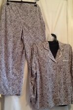 White Orchid 2 Piece Gray Animal Print Fleece Warm PJ Pajama Plus Set MSRP $52