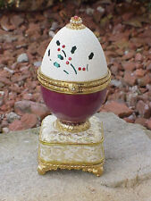 Decorated REAL Goose Egg Christmas Keepsake Trinket Music Box Collectible Holly
