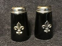 Vintage Black Glass Salt and Pepper Shakers With Silver Top