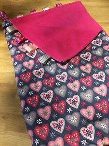 XL PERSONALISED PINK/GREY/WHITE LOVEHEART/PRAM TAGGY BLANKET/GIFT/GIRL