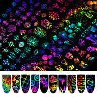 10Pcs Holographic Nail Foil Rose Butterfly Nail Art Transfer Stickers DIY 4*20cm