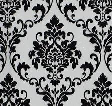 Exclusive Cashmere Flock Velvet Black/White Glitter Damask Wallpaper (J702)