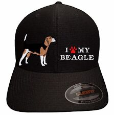 I Love My Beagle - Embroidered Flexfit Cool & Dry baseball cap hat dog pet