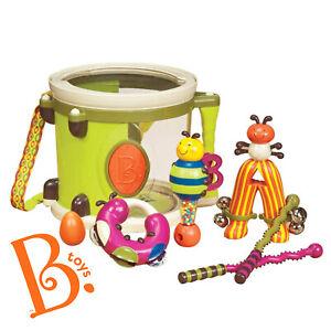 B. Toys PARUM PUM PUM 7 Pcs Musical Child Baby Toy Set Drum Maracas Tambourine