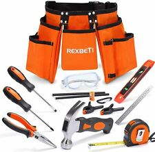 "Kids Builder's Tool Set with Real Hand Tools, Waist 20""-32"""