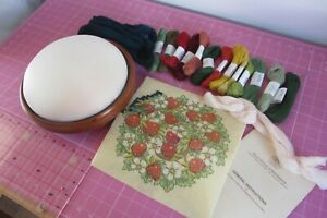 Tapestry Foot Stool Complete Kit. Mahogany With Bun Feet. Strawberry Pattern