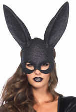 Black Rabbit Mask with Glitter Bunny Ears Masquerade Disguise Party