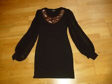 Ladies black shift dress by CUR MODA size 8 embellished neck vgc v