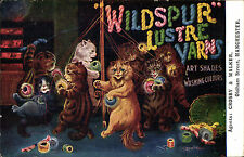 Louis Wain Cats. Wildspur Lustre Yarns Advert. Agents Crosby & Walker Manchester