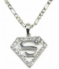 14K Yellow Gold Over Silver Superman Logo Genuine Diamonds Charm Pendant .40ctw