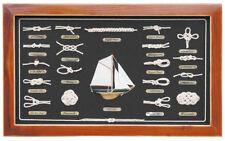 Knotentafel - Knotenbild mit Holzrahmen - 19 Knoten hinter Glas - DE - sc-5599D