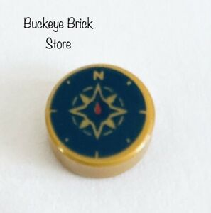 NEW Lego Round TILE 1x1 PEARL GOLD w/Dark BLUE Compass Rose & Red Needle Pattern