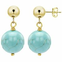 Stud Ball Earrings 14k Yellow Gold with 12mm Simulated Blue Turquoise Gemstone