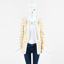Chanel 04C Yellow Beige White Tweed Fray Trim Tie Neck Jacket SZ 36