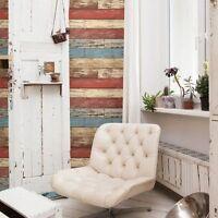 Levi Red Scrap Barn Wood Blue Tan Brown Weathered Rustic Faux Designer Wallpaper