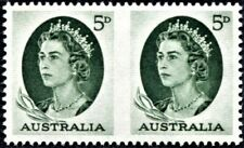 AUSTRALIA 1963 QUEEN ELIZABETH 5p Scott 365b IMPERFORATE PAIR - EXCELLENT (419c)