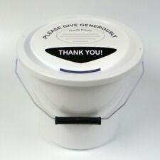 More details for 6 charity money collection buckets lids, labels & ties for fundraising-white
