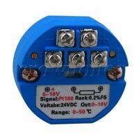 PT100  Plastic Blue Temperature Sensor Transmitter 0~50°C Output 0~10V DC 24V