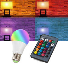 Dimmable RGB LED Bulb with Remote Control E27 10W 16 Color Change Light 85-265V