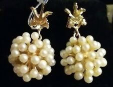 14K Yellow Gold, White Seed Pearl Cluster Hanging Earrings