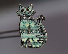 / Hübsches Kinderknopf-Trio - bunt bedruckte Katzen - wohl ab 2010