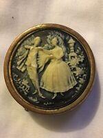 Vintage Victorian Blue Cameo Pill Box Man Woman Goldtone