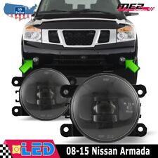 Fits 08-15 Nissan Armada Clear PAIR OE Bumper Replacement LED Fog Light Lamps