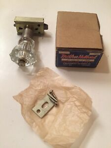 """Antique 1-1/8"""" Crystal Glass Knob Thumb Push Cupboard Latch NOS IN BOX"""