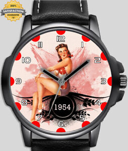 Pin Up Calendar Girl Retro 1954 Style Unique Beautiful Wrist Watch UK FAST