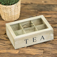 General Store 6 Compartment Vintage Tea Bag Box Caddy Storage Chest Shabby Chic