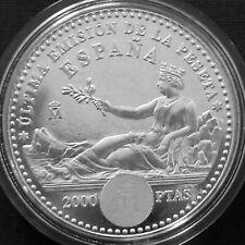 Spain 2000 pesetas Silver BU 2001 Last Peseta - Last Local Issues before EURO