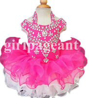 hotpink Infant/toddler/baby glitz Pageant Dress with hair bow 069-1
