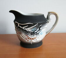 Dragonware Black Creamer White Blue Moriage Gold Trim Vintage Japan MIJ 3""