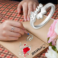 Fashionable Ladies Romantic Ring Band Love Butterfly 925 Sterling Silver Plated