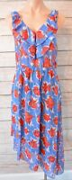 Rachel Roy Dress Shift Midi Size Medium blue red white floral