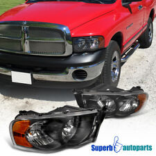 2002-2005 Dodge Ram 1500 2500 Euro Headlight Head Lamps Black Pair Replacement
