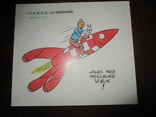 Hergé&Tintin-Fac similé-Carte de vœux Tintin Hergé 1954