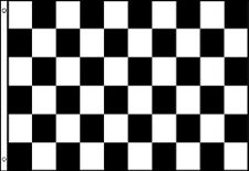 BLACK and WHITE CHECKERED FLAG 5' x 3' DELUXE NYLON Check Motor Sport Chequered