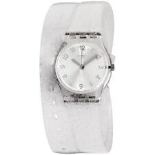 Swatch Originals Silver Glistar Silver Dial Silicone Strap Ladies Watch LK343