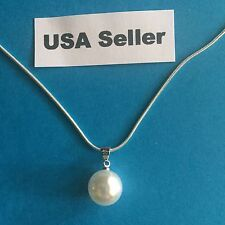 New Women's 12mm. Drop Pearl Pendant Silver Necklace. Free Gift Box